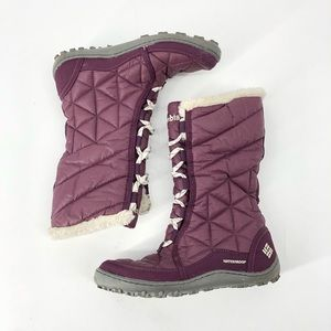 Columbia Mid III Winter Boots Purple Quilted Lace